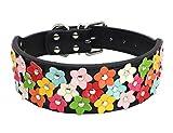 Lukis Blumen Hundhalsband Haustier Verstellbares Lederhalsband für Klein Hund Schwarz S-Länge: 37cm