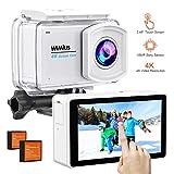 WiMiUS 4K Action Kamera Touchscreen 2.45 Inch LCD 16MP Touchscreen Cam 30M Unterwasserkameras WiFi Sport Camcorder 170° Weitwinkelobjektiv Helmkamera mit Zubehör-Kit