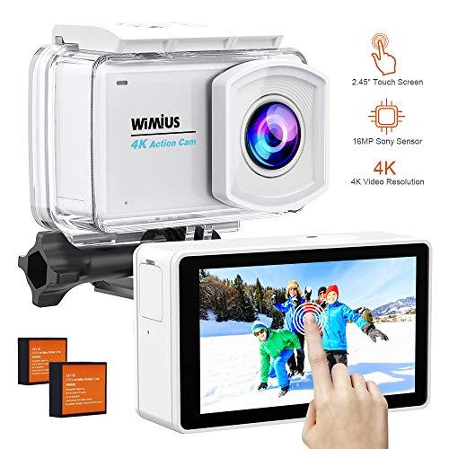 WiMiUS Action Cam 4K, 2.45'' LCD Touch Screen WIFI Actioncam 16MP HD 30M Unterwasserkamera Wasserdicht Action Kamera mit 2 Akkus und Zubehör Kits(L3-Weiß)