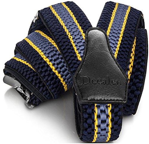 Decalen bretelle uomo eleganti extra forte clip taglia unica per uomini e donne grandi e alti larghezza regolabile di 4 cm e forma a y elastica (blu navy giallo azzurro)