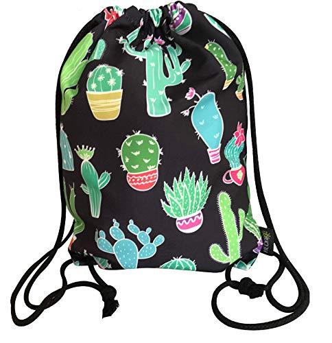 Bolsa de gimnasia para mujeres y niñas en algodón (negro) - impresa por ambos lados con motivos de cactus - para uso diario, viajes y deportes - adecuada como bolsa de gimnasia, mochila, bolsa de depo