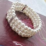 Mujer Perlas pulsera 3filas bisutería cristal elástico multicapa pulsera