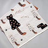 Cotone 3 Tessuto a Tre Strati di Garza per Bambini Aumentare Nuoto Asciugamano da Spiaggia in Cotone Assorbente 140 * 70 cm, Asciugamano da Bagno Gatto Marrone, 140X70 cm