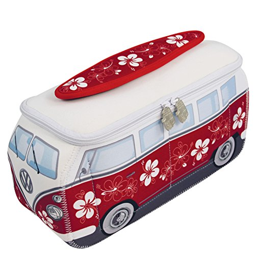 VW Collection by BRISA * VW Bulli T1 Universal-Tasche im 3D-Design aus Neopren (Flower-Red)