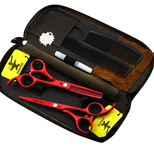 5,5 Zoll rot Farbe Barber Schneiden Schere Set für Friseure, Razor Schneiden Scheren & Effilierschere Haar Schere Set