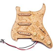 ammoon Prewired Cargado Pickguard de Guitarra de Madera Placa de Madera de Arce Pastillas SSS con