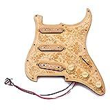 ammoon Gitarre Pickguard Loaded Prewired Hölzerne Ahorn Holzplatte SSS Pickups mit dekorativen Blumenmuster für Fender ST E-Gitarren