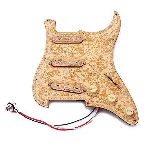 ammoon Gitarre Pickguard Loaded Prewired Hölzerne Ahorn Holzplatte SSS Pickups mit Dekorativen Blumenmuster für St E-Gitarren