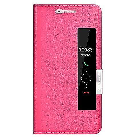 Huawei P10 Case, Ultra Thin Flip Echtes Leder Huawei P10 Cover Case Fenster Ansicht Stand Feature Magnet Verschluss Telefon Fall für Huawei P10 von Make mate (Rose rot)