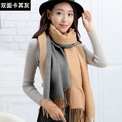 RENYZ.ZKHN Ladies Winter Scarf All-Match Long Scarf Scarf Scarf Printing Thickening Fashion Student Fringed Plaid 67*190Cm,Double-Sided Khaki Ash (Double-sided-match)