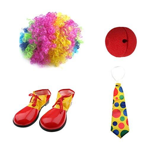 Gazechimp Clown Jester Joker Kostüm Perücke Red Nose Schuhe (Clown Schuhe Riesen)