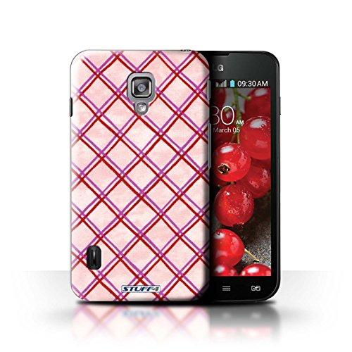 Kobalt® Imprimé Etui / Coque pour LG Optimus L7 II Dual / Jaune conception / Série Motif Entrecroisé Rose/Rouge