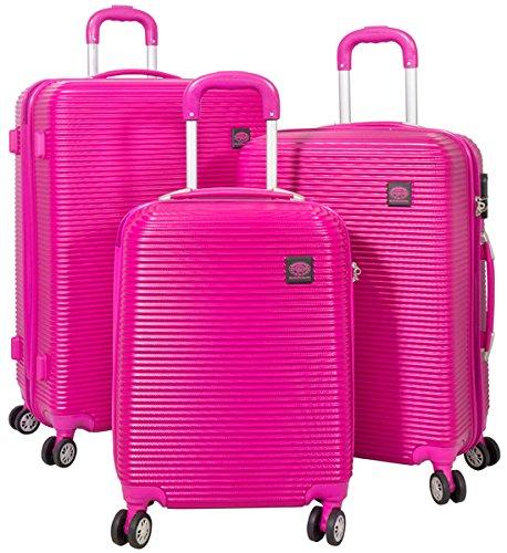 3tlg. Hartschalen ABS Kofferset Trolley Reisekoffer Set Reisetrolley Handgepäck Boardcase Santorin (Farbe Pink)