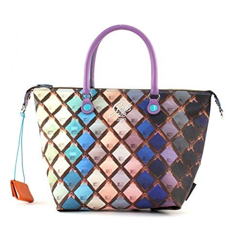GABS Handtaschen G3 PRINT STUDIO G000030T2 X0086 S0328 ROMBI Frauen Rhombus (Blau / Violett / Rosa)