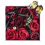 PH Home Künstliche Blumen Seife Rosen Geschenk-Box mit Schmetterling und Kristall für Valentinstag, Muttertag, Hochzeit, Geburtstag, Jahrestag rot