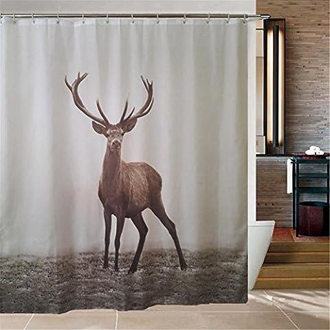 Rideau de douche élégant à haute qualité pour salle de bains - Tissu en polyester imperméable et anti-Mildew - Patron Elk - Taille de la baignoire standard (1,8 m * 1,8 m) -12 Crochet