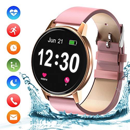Bluetooth Smartwatch Damen Fitness Tracker Uhr mit Pulsuhr Wasserdicht IP68 Schwimmen Blutdruckmessung Schlafmonitor Armband für Android iOS