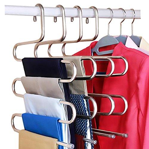 Hose Kleiderbügel (Hose Kleiderbügel, 5 Lagen Edelstahl Hose Aufhänger,2 Stück Stabile S-Typ Aufhänger Raumschoner für Schlaufe und Hosen (2 kit))
