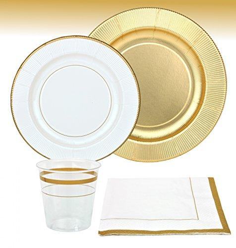 MamboCat 44-tlg. Einweggeschirr Party Set Gold für 8 Personen aus Papptellern, Servietten und Bechern für festliche Anlässe/goldene Hochzeiten mit goldenen Verzierungen