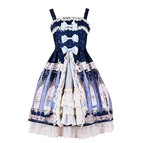 Packitcute Süße Mädchen Bubble Skirt Lolita Prinzessin Royal Sling Dress (Navy, S)