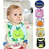Wishkey Baby Bibs For New Born Infants Set Of 4 |Unisex Cotton Bibs For Boys And Girls|Multicolor Printed Velcro Feeding Bibs For 6 Months To 2 Years Kids|Soft,Comfortable And Absorbent Material Mashine Washable Easy To Clean Bibs