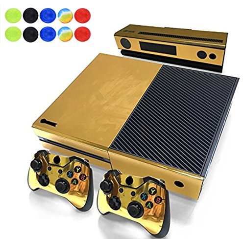 Skin for XBOX ONE - Morbuy Vinyl peau Protective Autocollant Decal Sticker pour Microsoft XBOX ONE console + 2 Autocollant Manette et 1 autocollant Kinect Set + 10pc SiliconeThumb Grips (Or Brillant)
