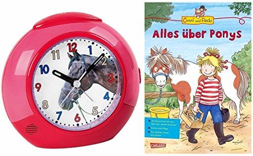 Kinderwecker Ohne Ticken Mädchen Pferde mit Lernbuch Conni Buch Alles über Ponys - 1984-1 BU