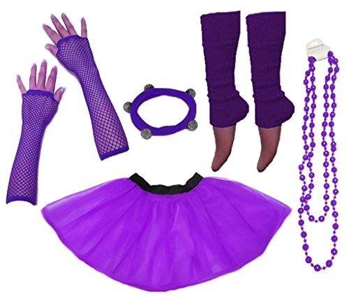 Handschuhe Fischnetz Kostüm - A-Express Frauen kostüm 80er Jahre Neon Tutu Beinstulpen Fischnetz Handschuhe Tüllrock Karneval Tüll Damen Fluo Ballett Verkleidung Party Tutu Rock Kostüm Set (36-44, Lila)