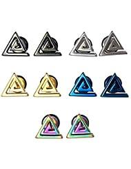 5 pares de Spiral LilMents en forma de triángulo y 10 mm acero inoxidable Unisex para mujer para hombre Juego de pendientes de tuerca de tornillo Direct Hardware