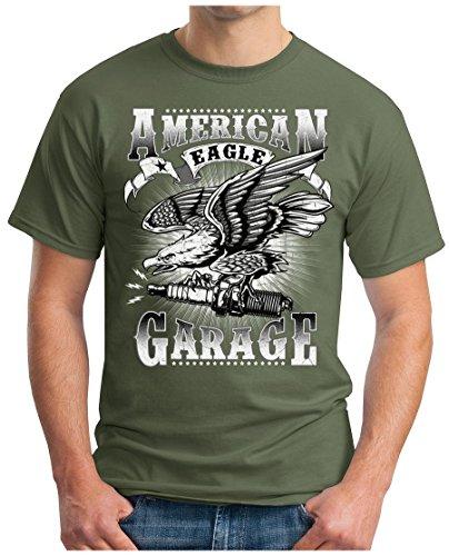 OM3 - American-Garage - T-Shirt Eagle Sparks HOD Rod Route 66 US Amercian Cars Oldtimer Geek, L, Oliv (Chevy Totenkopf)