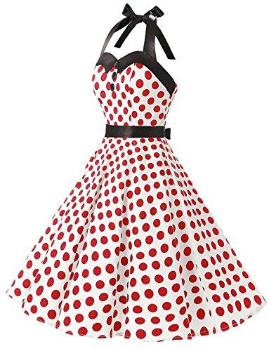 Dressystar Vintage Tupfen Retro Cocktail Abschlussball Kleider 50er 60er  Rockabilly Neckholder Weiß Rot Dot