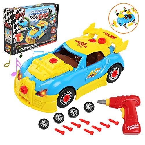 LEADSTAR Giocattolo Auto da Corsa, Giocattolo da Costruzione da Corsa con luci e Suoni Realistici Include 30 componenti Miglior regalo per bambini dai 3 anni in su