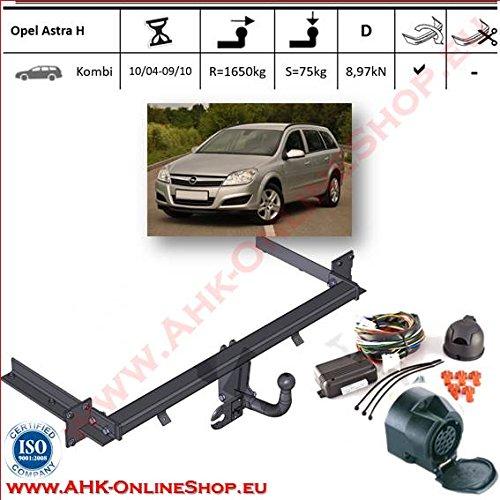 Attelage remorque avec Faisceau 13 broches | Opel Astra H Break de 2004 à 2010 | col de cygne démontable avec outil
