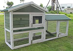 Cocoon 6FT BUNNY XL Double Decker Rabbit/Guinea Pig Hutch and Run - 6TF OVERALL LENGTH AS PER RABBIT WELFARE GUIDE 2014 (Green)