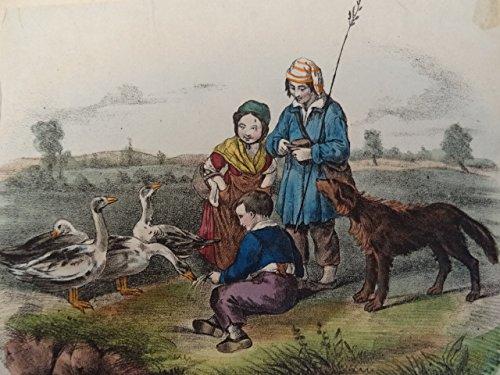 Kinderszene mit Tieren. Kolor. Lithographie, um 1845. 13,5 x 17,5 cm. Auf Papier montiert.