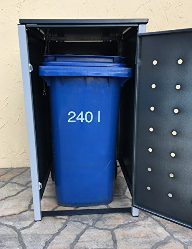 BBT@ | Hochwertige Mülltonnenbox für 4 Tonnen je 240 Liter mit Klappdeckel in Grau / Aus stabilem pulver-beschichtetem Metall / Stanzung 3 / In verschiedenen Farben sowie mit unterschiedlichen Blech-Stanzungen erhältlich / Mülltonnenverkleidung Müllboxen Müllcontainer - 7