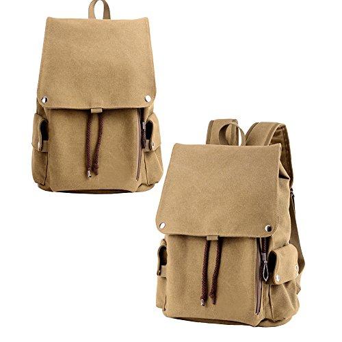 Asdomo uomini ragazzi leggero zaino di viaggio zaino viaggio borsa a tracolla zaino impermeabile per escursionismo, lavoro, per la scuola, Dark khaki Dark khaki