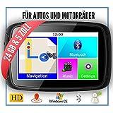 Elebest Rider W5 Navigationsgerät, 5 Zoll PKW/Motorrad,Bluetooth,Wasserdicht,Neuste Europa Karten sowie Radarwarner, 24GB Speicher,Kostenlose Kartenupdate