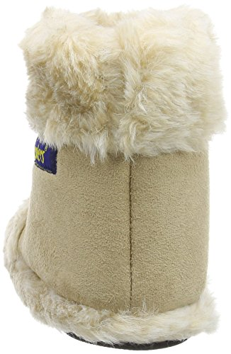 New Ladies Coolers Branded Fur Collar Microsuede Textile Upper Fluffy Lined Snugg Boot Slipper 316 Beige Uk Size 3-4