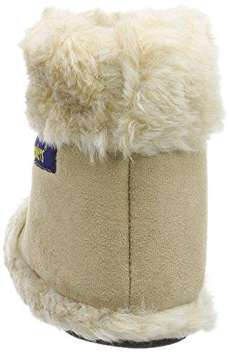NEU Damen Kühler Fun Microsuede Hausschuhe flauschig warm Stiefel Snug beige