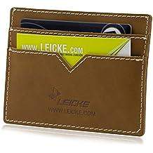 MANNA Estuche para tarjetas Billetero   Tajetas de visita, billetes, carnet de conducir o DNI   Hecha a mano con cuero genuino de Nobuk   by Leicke