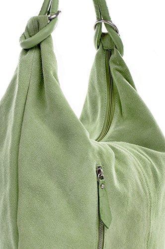 CNTMP, Borsa da Donna, Borsa a Spalla, Con Tasche, In Pelle Scamosciata, Con Tasca in Pelle, DIN-A4, 44 x 36 x 4 cm verde chiaro