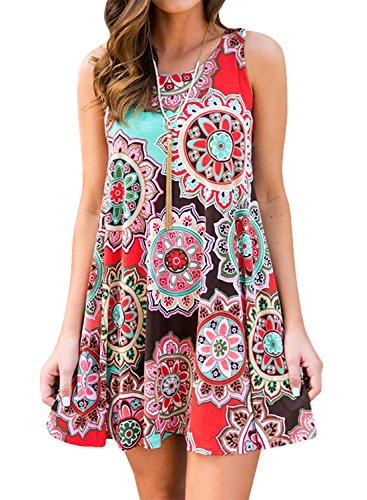 Sommerkleider Damen Casual Ärmellos T-Shirt Kleid Kurzen Blumen Bedrucktes Strandkleider mit Taschen (Violett, M)