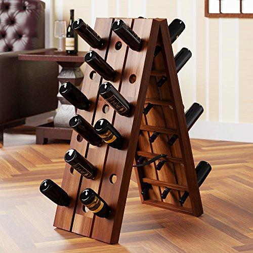 Deuba Weinregal Rüttelbrett aus massivem Hartholz für 36 Flaschen, klappbar HxBxT 87x40x55cm - Flaschenregal Flaschenständer Weinständer Weinflaschenhalter Rüttelpult Design Rustikal Vintage