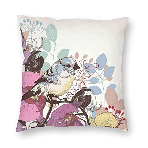 Papalikz Pink and Purple Throw Pillow Cushion Cover,Spring Nature with Birds On Orchids Leaves Exotic Mother Nature Pastel Art,Decorative Square Accent Pillow Case 16