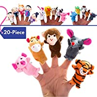 20-Piece Storytime Finger Puppets Set - Cloth Puppets with 14 Animals Plus 6 People Family Members