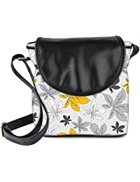 Snoogg Yellow Flower Grey Womens Sling Bag Small Size Tote Bag