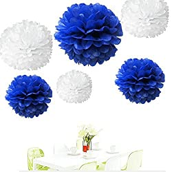 Since 12Pcs of 8 10 14 3 Colors Mixed White and Royal Blue Tissue Paper Flowers,Tissue Paper Pom Poms,Wedding Party Decor, Pom Pom Flowers,Tissue Paper Flowers Kit,Pom Poms Craft,Pom Poms Decor