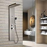 Auralum® 2 Jahre Garantie Auralum® Luxus Design Duschpaneel Chrom Duschsystem Wasserfall Duschen Duschset Duschstange mit Handbrause LCD Display Wassertemperatur Anzeigen 2 Jahre Garantie