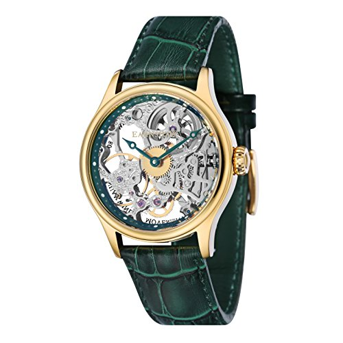 Thomas Earnshaw Bauer Mechanical Men's Mechanical Watch with Silver Dial Analogue Display with Green Leather Strap ES-8049-05
